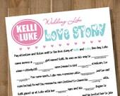 PRINTABLE Bridal Shower Game, Wedding Reception Game -- WEDDING LIBS: Love Story -- Custom