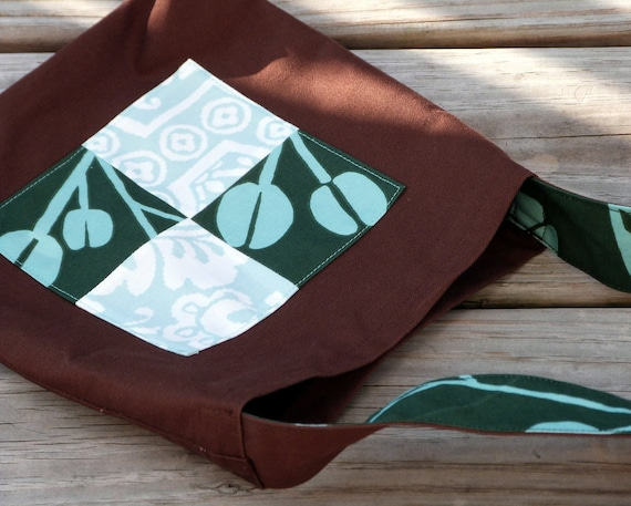 Kid's Treasure Bag, Child's Messenger Bag in Mint and Chocolate, Washable Toddler Toy Bag