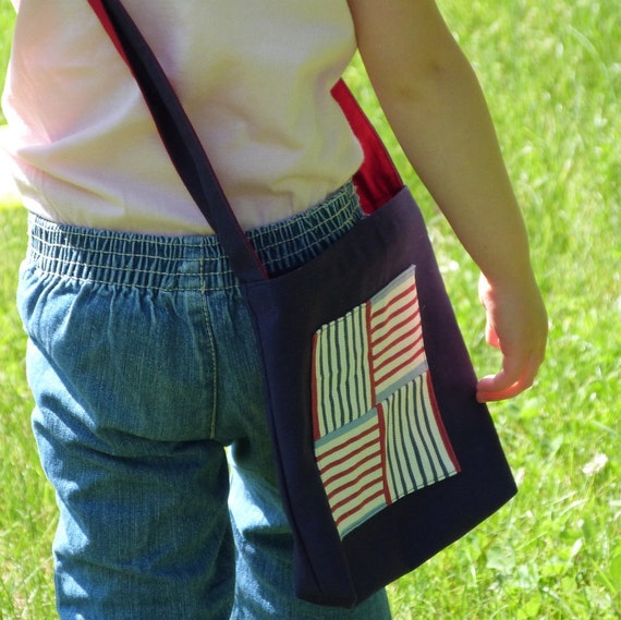 Small Shoulder Bag, Durable Kids Messenger Bag, Red, White, and Blue Washable Cotton