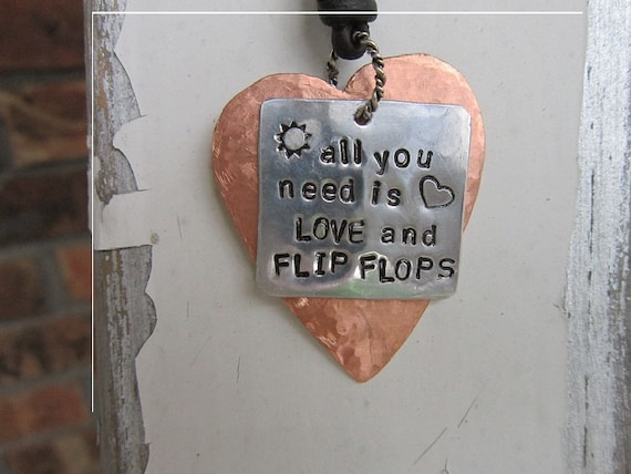 Necklace, All You Need is Love and Flip Flops, Metal, Leather