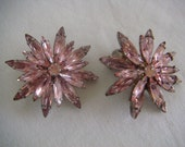 Reserved for Alyce - Madmen 1950s pink rhinestone star statement bridesmaid earrings - TREASURY LISTED