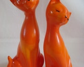 Salt and Pepper Shakers iconic 1960s retro orange cats - TREASURY LISTED