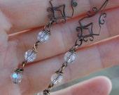 Vintaj Chandelier Earrings with Moonlight Swarovski Crystals.  Dangle Earrings.  Valentines Day.