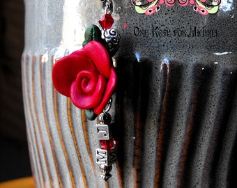 One Rose for Michael in Red- Ribbon Cord Necklace