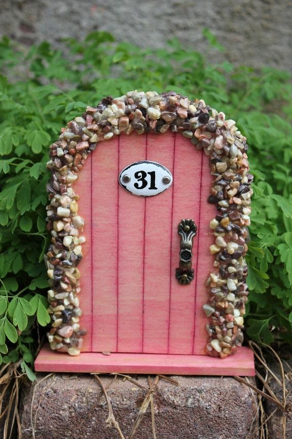 Miniature Wood Fairy Hobbit Door Pink with Pebbles