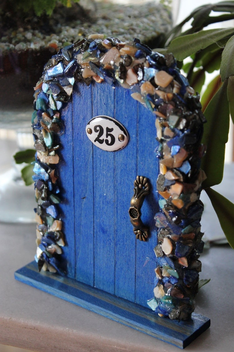 Miniature Wood Fairy Hobbit Door Blue Shells By Thefableddoor