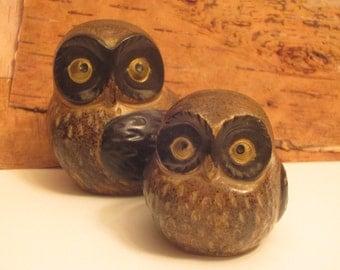 Pair of cute VINTAGE OWLS in BROWN