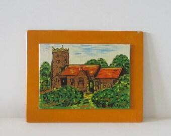 ORANGE Vintage PAINTING of CHURCH Castle