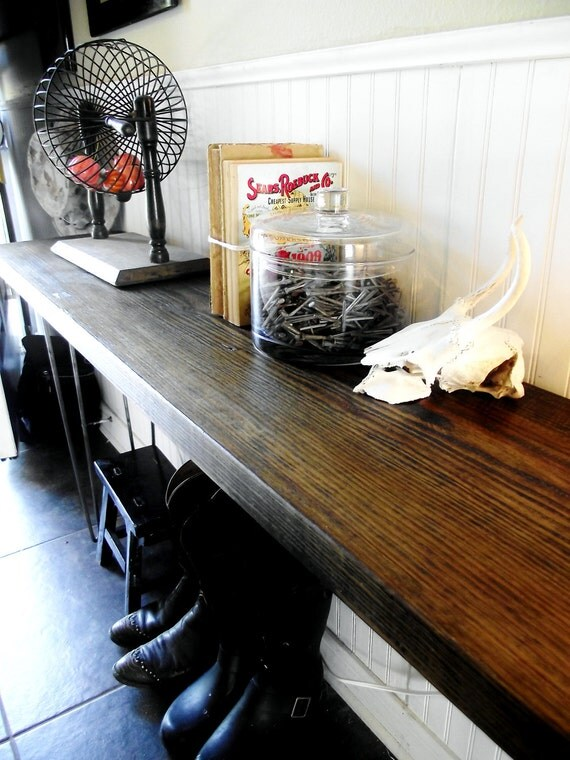 RESERVED-Reclaimed barnwood table wood side, entry way sofa foyer console table.  Modern vintage Hair pin legs.
