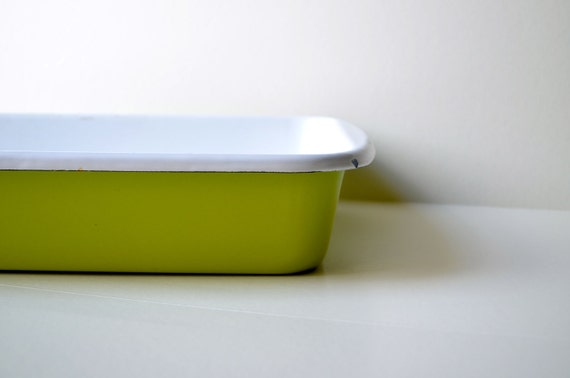 Vintage apple green enamel ware metal tin tray kitchen pan.  House ware, kitchen, storage bin, decor modern,