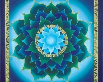 Blue Aura Lotus Mandala-  archival print on photo paper