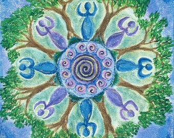 Goddesses Dancing Mandala-  archival print on photo paper