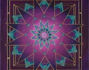 Crystalline Depths Mandala-  archival print on photo paper