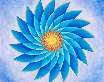 Laguna Pinwheel Mandala-  Original Acrylic on canvas