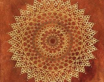 Red Earth Crystal Mandala-  Original Acrylic on canvas