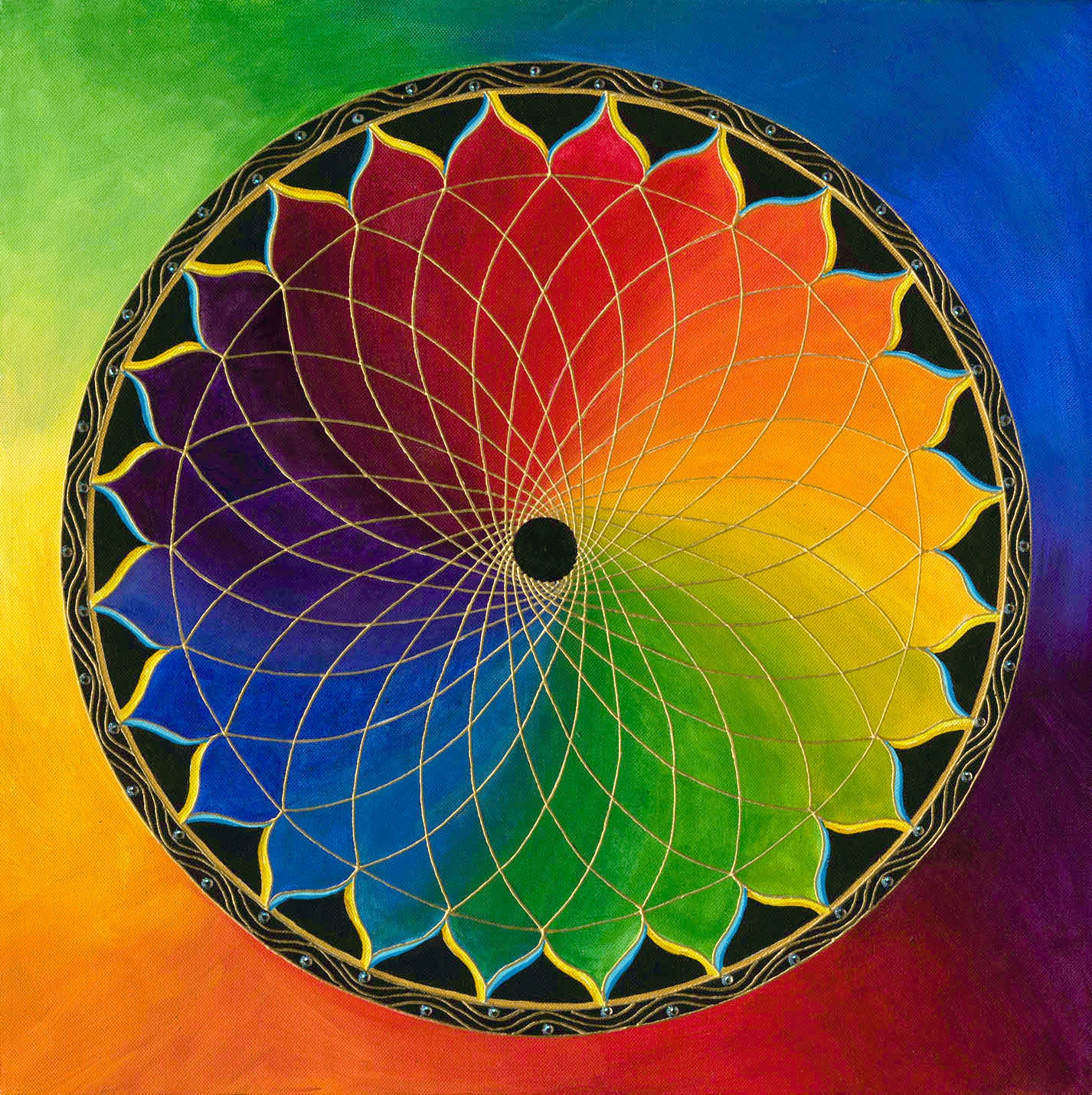 Create Your Own Blueprint Rainbow Lotus Mandala Archival Print On Photo Paper