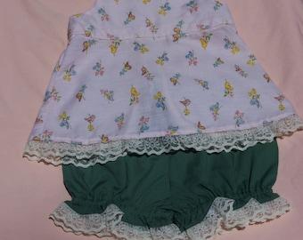 Light Soft Pink Bird Print Bloomer Outfit, Size18 Months