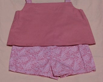 Floral Rose Print Tank Top Shorts Outfit, Size 3