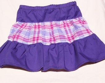Pink and Purple Plaid with Solid Purple 3 Tiered Girl's Skirt, Size 5