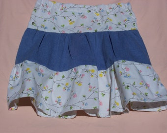 3 Tiered Flower Print and Blue Girl's Skirt, Size 6
