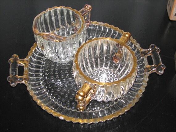Jeanette Glass Crystal Sugar Creamer Vintage mid 50s Lovely