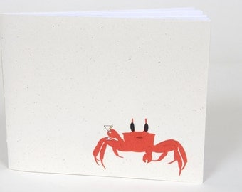Small Note Book / Sketchbook - Red Party Crab Drinking Martini