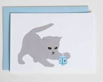 Hannukah Card - Cat spinning a dradle