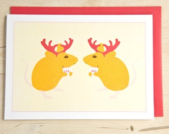 Holiday / Christmas Card - Mouse - Mice Drinking Eggnog with Reindeer Horns.