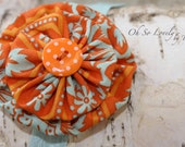 Orange and Teal Fabric Flower Headband