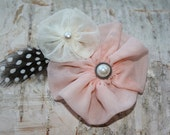 Vintage flower clip headband with feather