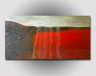 "Abstract Textured Painting Fine Contemporary Art Large 24""x48"" Red Brown White"