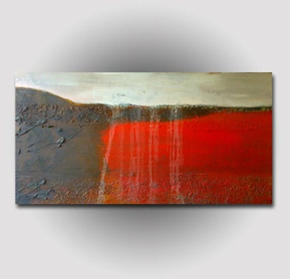 """Abstract Textured Painting Fine Contemporary Art Large 24""""x48"""" Red Brown White"""