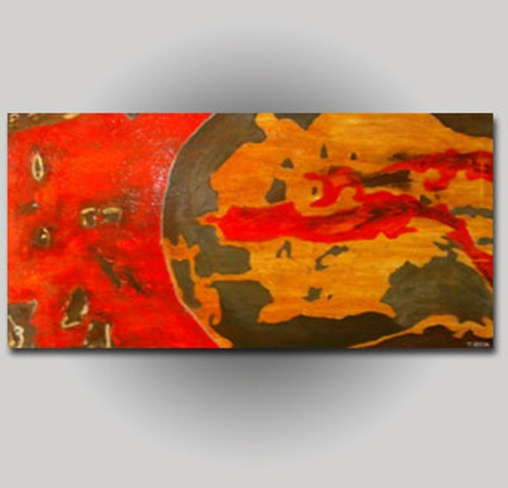 """Abstract Textured Painting Fine Contemporary Art Large 24""""x48"""" Orange Yellow Gray"""