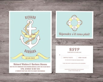 Nautical Wedding Invitation and RSVP set
