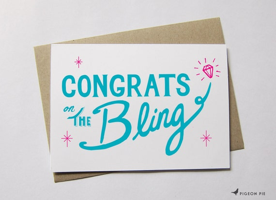 Congrats on the Bling Engagement Card