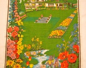 The Butchart Gardens of Canada- Vintage Screen-printed Tea Towel