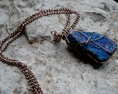 Peacock ore/ chalcopyrite wire wrapped rock pendant necklace on 18 inch copper chain