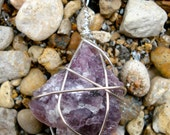 Purple wire-wrapped lepidolite rock stone pendant necklace on 20 inch silver chain