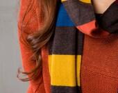 Multicolored (brown/red/orange) Striped Scarf Warm Cozy Merino Wool Ready to Ship