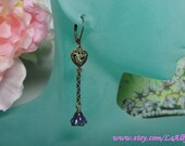 Antique Brass Earrings - Glass Flower - Choose Your Color