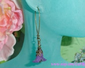 Antique Brass Lucite Flower Earrings