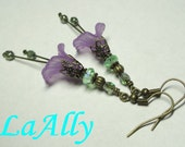 Antique Brass Lucite Flower Earrings - Choose Your Color