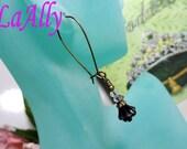 Purple Glass Flower Antique Brass Earrings