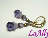 Antique Brass Earrings Swarovski Crystal Glass Beads