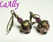 Antique Brass Earrings Faceted Glass Bead - Swarovski Crystal