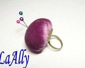SALE Vintage Purple Velvet Adjustable Pincushion Ring