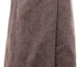 Vintage St Michael Purple Pure New Wool Tweed Knee Length Wrap Skirt Medium