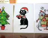 ON SALE--- Cat Christmas Cards, Mixed Set of 3