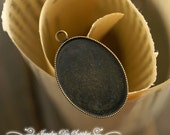 100Pcs 18x25mm  - High Quality Antique Bronze Plated Brass Cabochon Pendant Base with Loop(BASE-11)