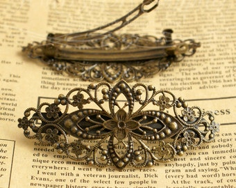2 Pcs High quality Antique bronze filigree  hair clip   - Hair Barrettes-(HPC-123423)